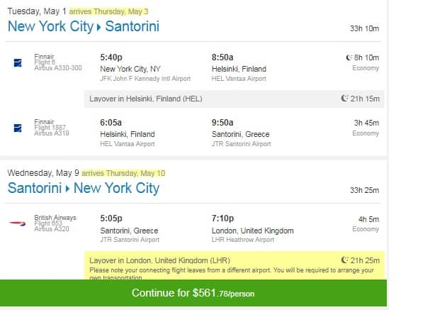 New York to Santorini (Thira) Greece $562 RT on Finnair / British Airways (limited travel May 2018)