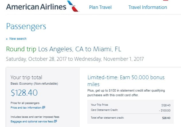 One Date Only:  $128 RT Nonstop Los Angeles to Miami Only on American Airlines BE