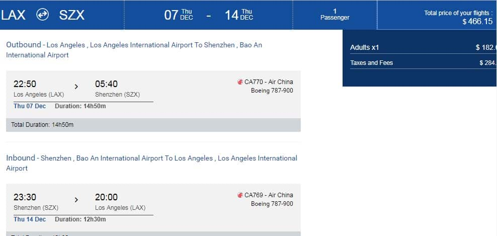 Los Angeles to Shenzen China $466 RT Nonstop on Air China Introductory Airfares