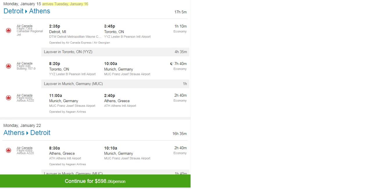 Detroit to Athens Greece $598 RT Airfares (travel Jan-Feb)
