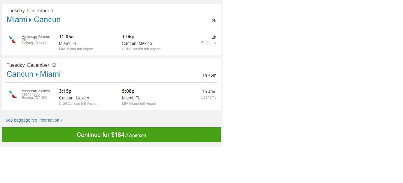 Miami to Cancun $185 RT Nonstop (travel Nov-June 2018)