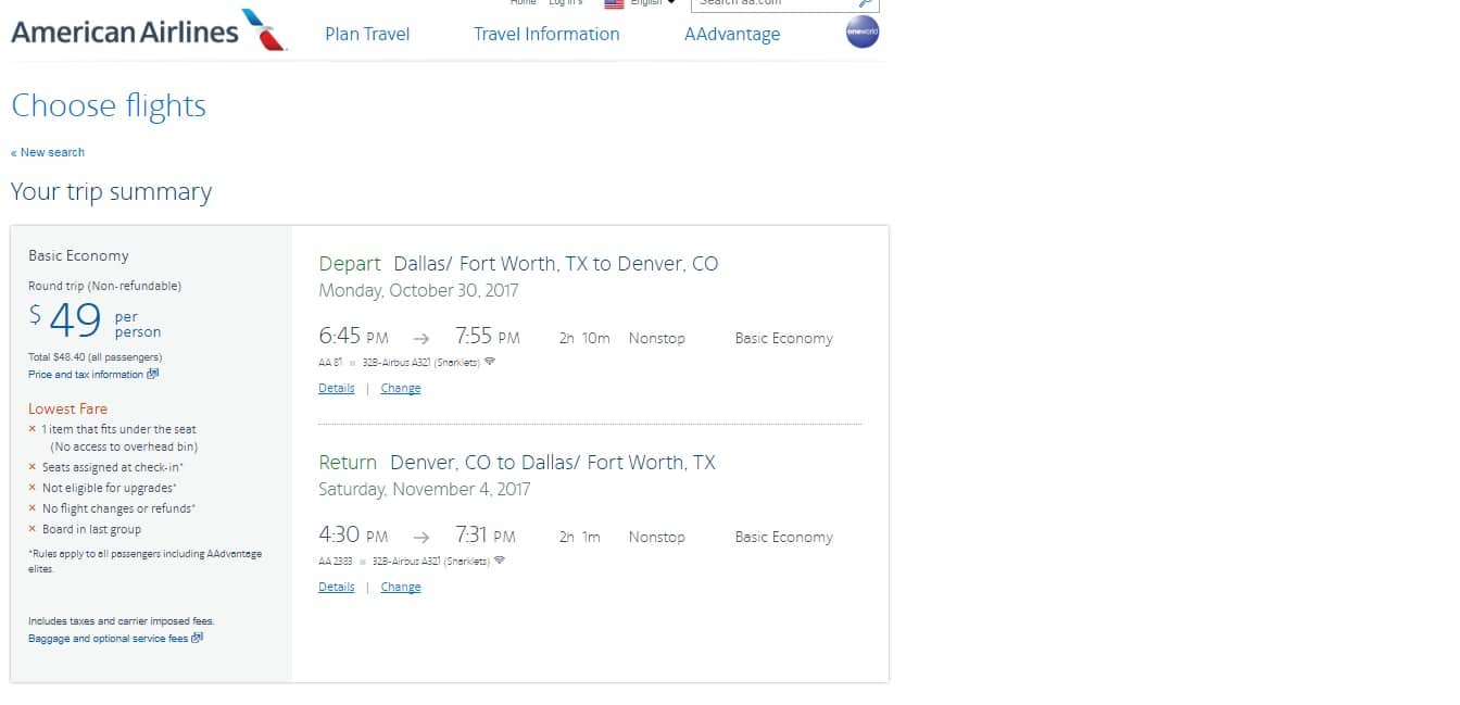 Denver to Dallas $48 BE or $64 Main Cabin RT Nonstop (limited Oct-Nov) or Vice Versa