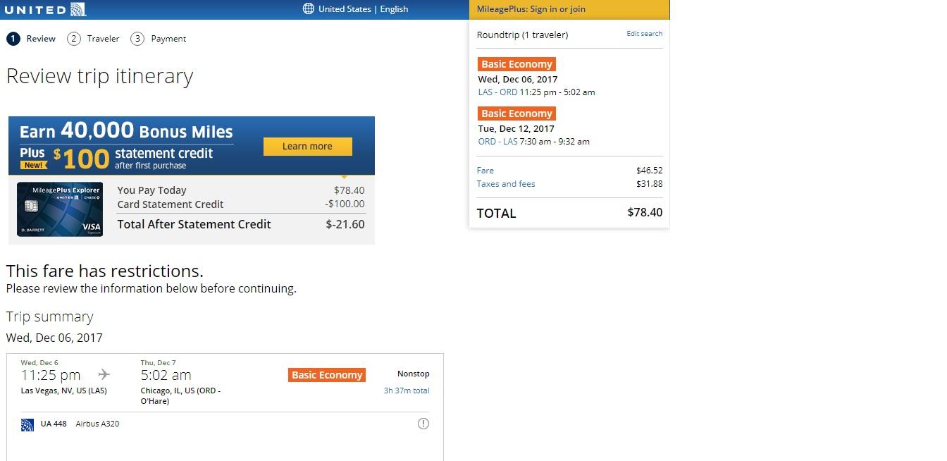 Chicago to Las Vegas or Vice Versa $78 RT Nonstop (limited travel Nov-Jan)