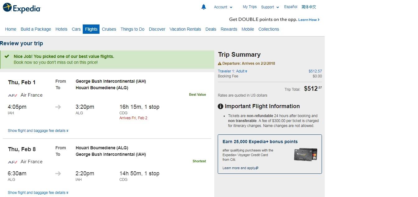 Houston to Algiers $513 RT Airfare (Travel Jan-April)