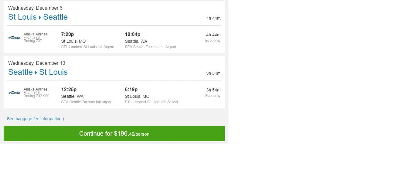 St Louis -Seattle $196 RT Nonstop or Vice Versa (limited travel Dec)