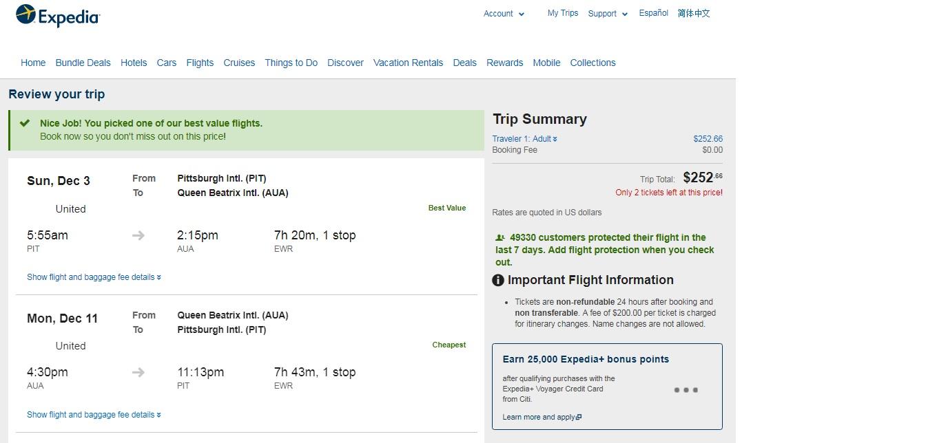 Pittsburgh to Aruba $253 RT Airfares (travel Nov-Feb 2018)