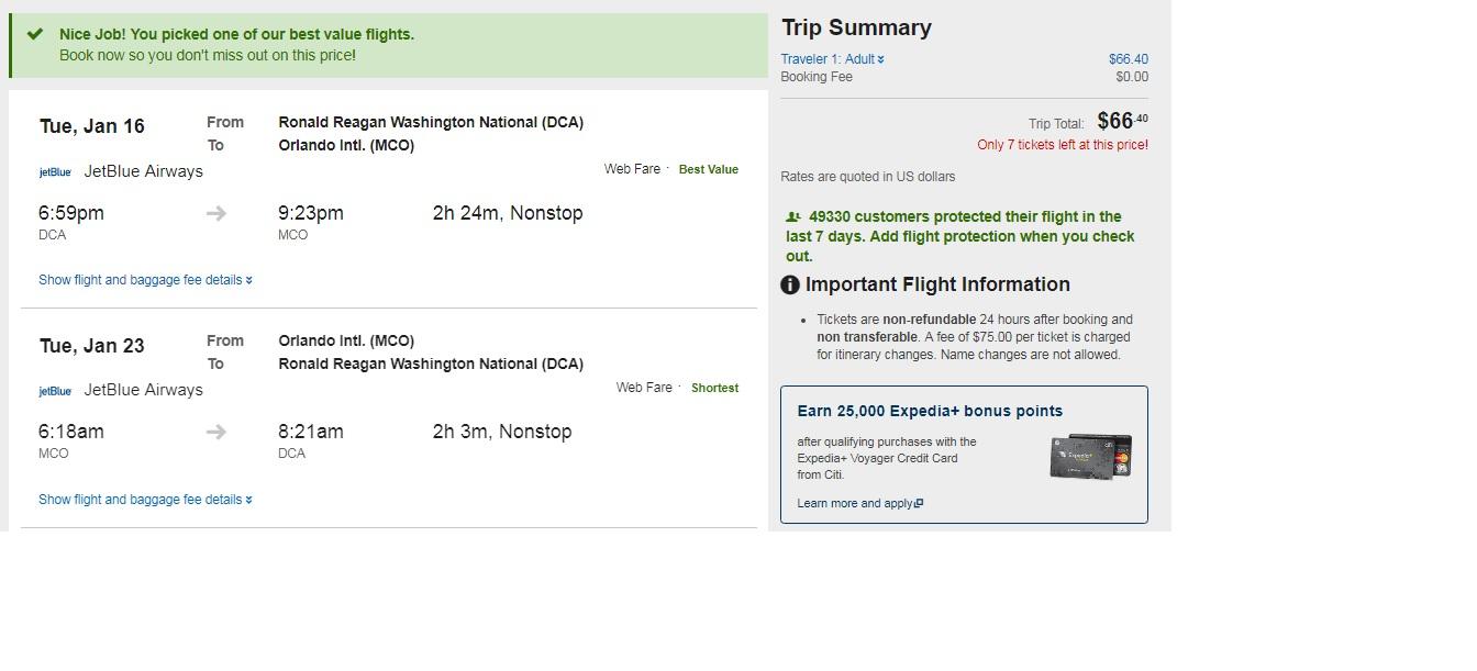 HOT! DCA-MCO or Vice Versa $66 RT Nonstop (travel Jan-Feb)