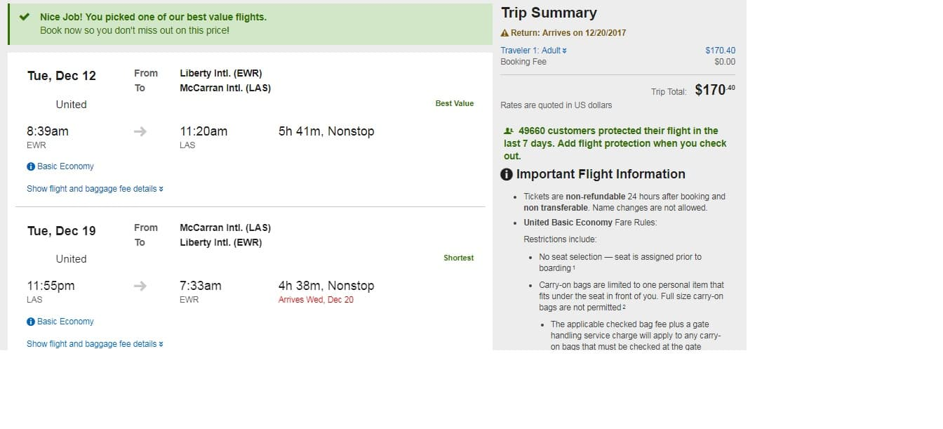 Las Vegas to NY/NJ or Vice Versa $170 RT (limited travel dates Dec)