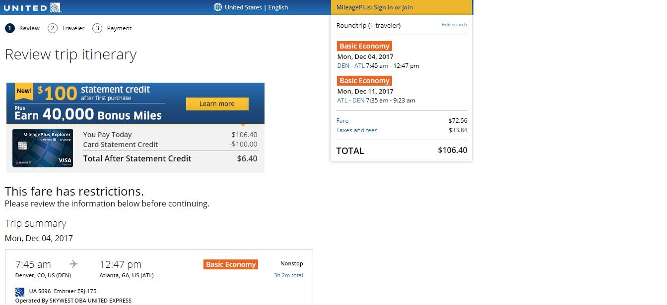 Atlanta to Denver or Vice Versa $106 RT (limited travel Nov-Dec)
