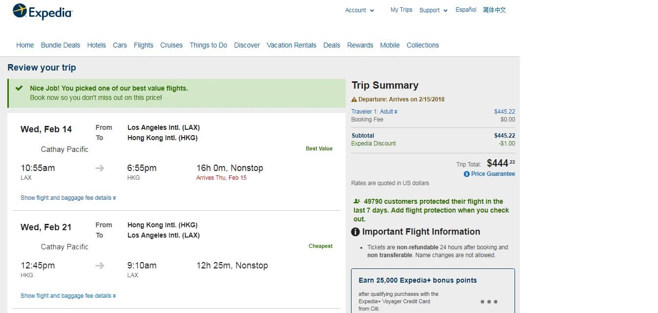 LAX to Hong Kong $444 on Cathay Pacific NONSTOP 5-star rated airline (limited travel Feb-Mar)
