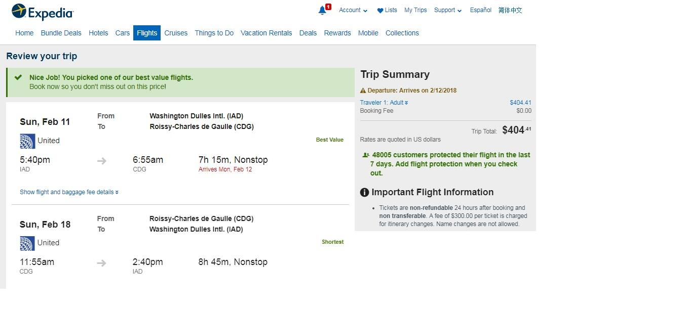 Washington DC to Paris France $404 RT Nonstop on United or Lufthansa (travel Feb-March)