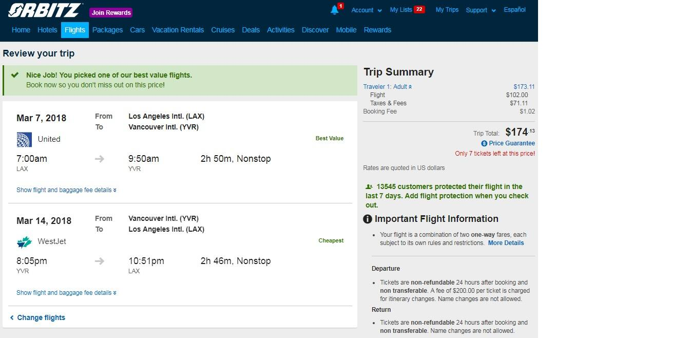 Los Angeles to Vancouver Canada $174 RT on United Airlines or AIr Canada (travel Jan-April 2018) Nonstop