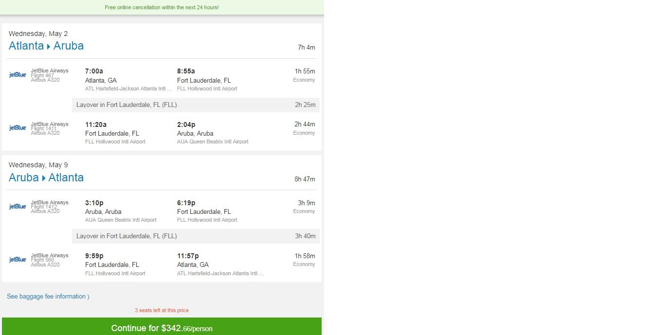 Atlanta to Aruba $343 RT on JetBlue (limited May 2018 Dates)