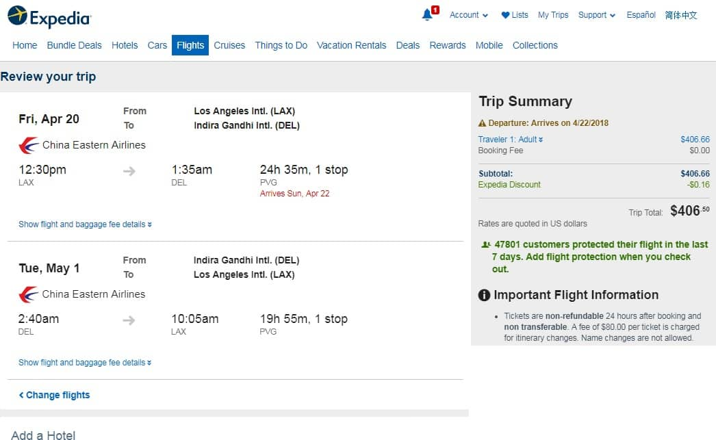 Los Angeles to New Delhi India $407-$451 RT on China Eastern or Air China (travel March-May 2018)