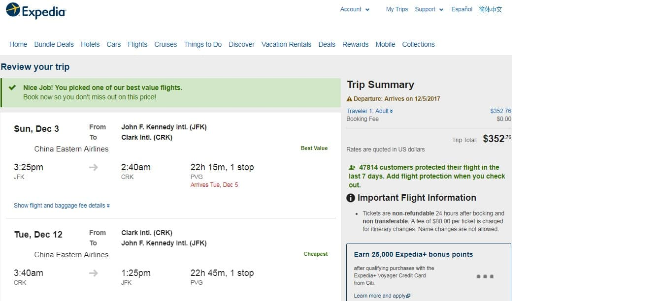 New York to Angeles City Philippines $353 RT Airfare on China Eastern (very limited Dec dates)