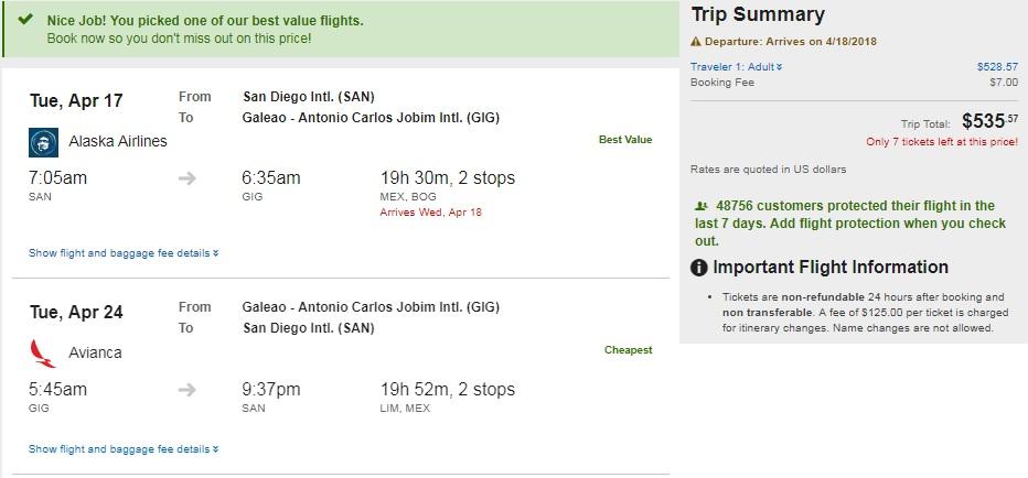 San Diego to Rio de Janeiro Brazil $535 RT Airfares (travel March-May 2018)