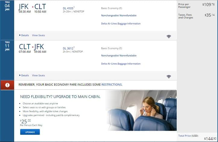New York to Charlotte or Vice Versa $145 RT Nonstop on Delta Airlines (BE) (Travel Dec-Aug)  SUMMER Travel OK