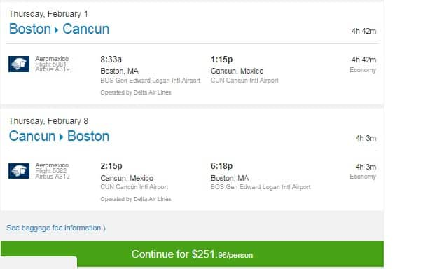 Boston to Cancun MX $252-$275 RT Nonstop on Aeromexico or Delta Airlines (travel Jan-April)