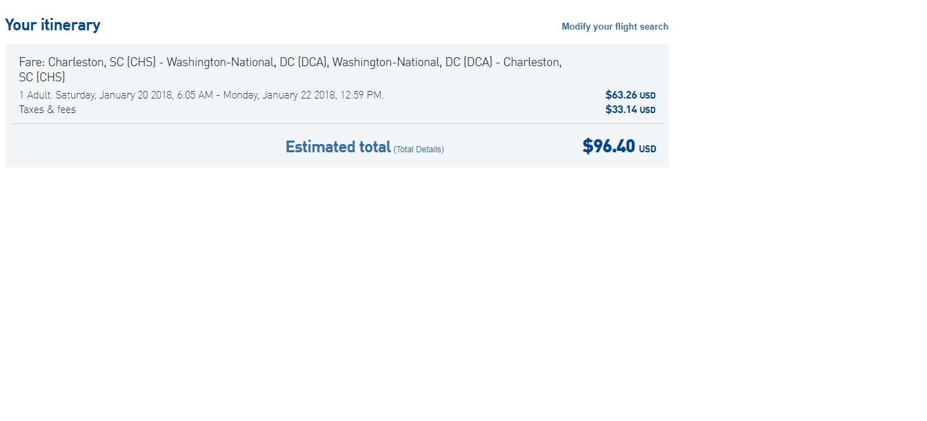 Washington DC to Chaleston SC or Vice Versa $96 RT Nonstop (travel Jan-Feb)