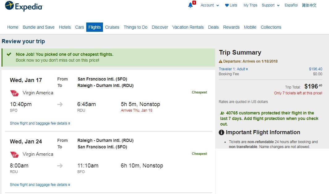 Raleigh NC to San Francisco or Vice Versa $196 RT Nonstop (travel Jan-Feb)
