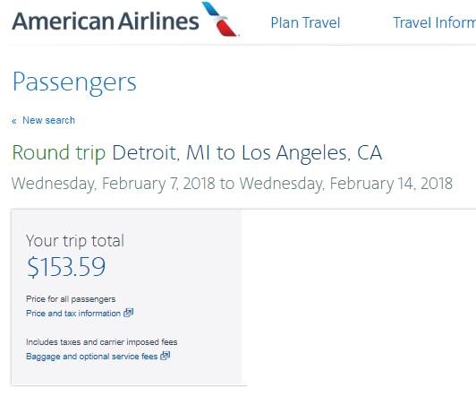 Detroit to Los Angeles or Vice Versa $154 RT on AA (travel Jan-Feb)