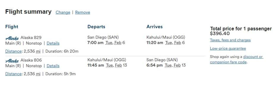 San Diego to Maui Hawaii $362 RT (1 stop) or $396 RT Nonstop (travel Jan-Feb)