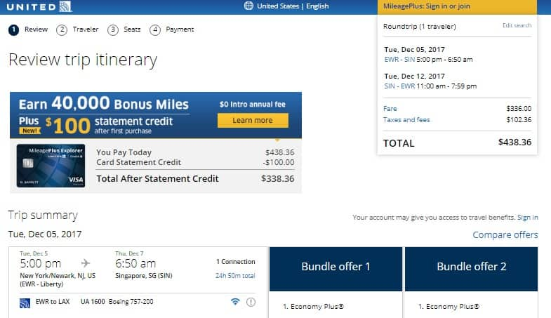 [Expired] New York / New Jersey to Singapore $438 on United (departs Dec 5)