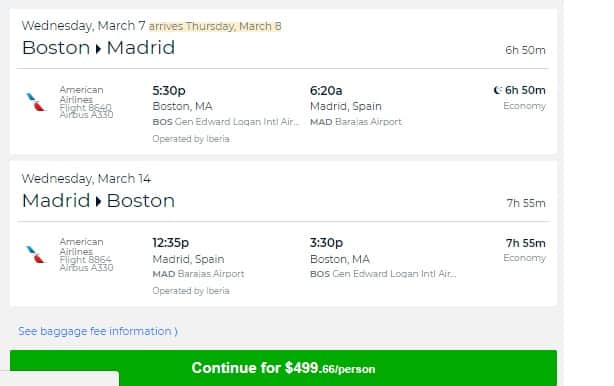 Boston to Madrid Spain $499 RT Nonstop on AA (Travel Mar-Apr, Aug-Oct)