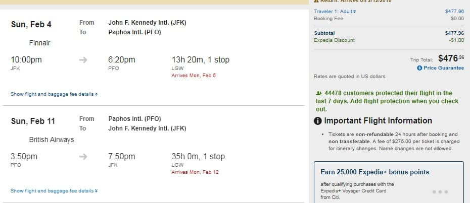 New York to Paphos Cyprus $477-$490 RT Airfare (travel Feb-Mar, Sept)
