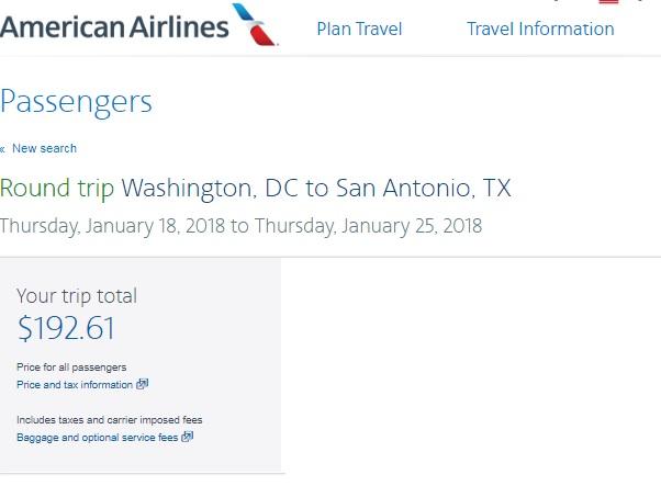 Washington DC to San Antonio TX or vice Versa $192 RT