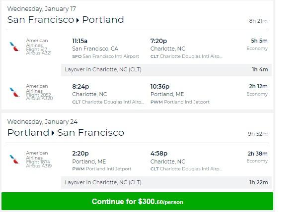 Portland ME to San Francisco or Vice Versa $301 RT on AA (travel Jan-Feb)