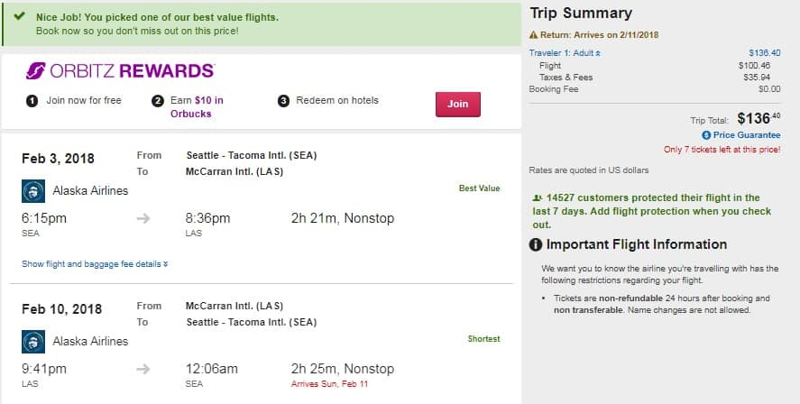 Seattle to Las Vegas or Vice Versa $136 RT Nonstop on Alaska Airlines