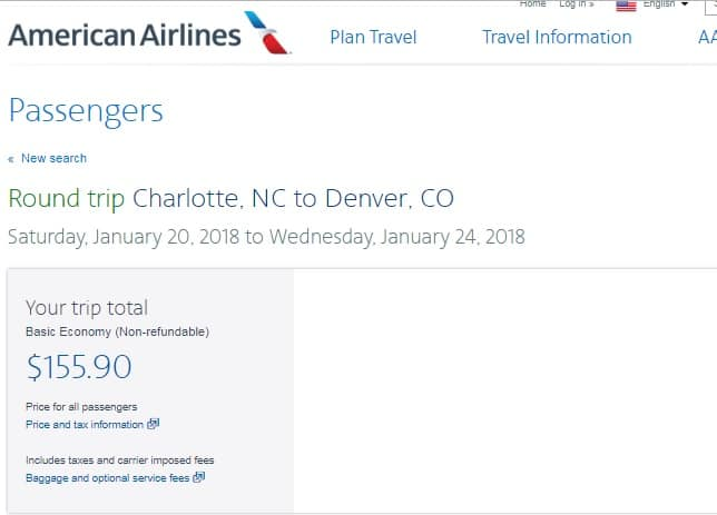 Denver to Charlotte or Vice Versa $156 RT on American or United Airlines (BE) (Travel Jan-Feb 2018) Nonstop