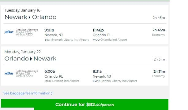 New York / New Jersey to Orlando or Vice Versa $82 RT on JetBlue (travel Jan-Feb 2018) Nonstop