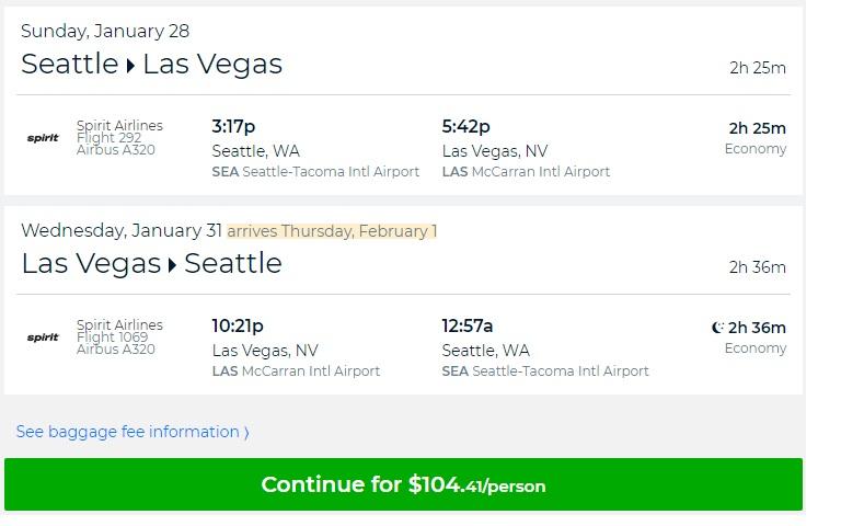 Seattle to Las Vegas or Vice Versa $104 RT Nonstop on Spirit Airlines (travel Jan-Feb)