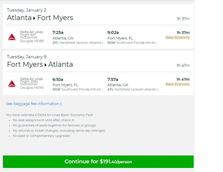 Atlanta to Ft Meyers or Vice Versa $191 RT Nonstop on Delta Airlines (travel Jan-Aug 2018)