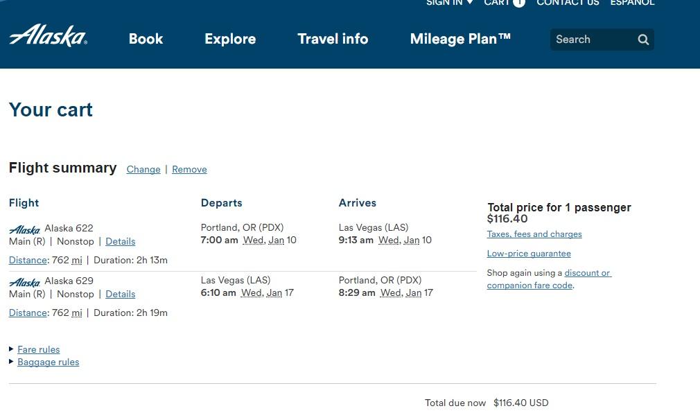 Portland to Las Vegas or Vice Versa $116-$118 on Alaska or Southwest Airlines (travel Jan-Feb)