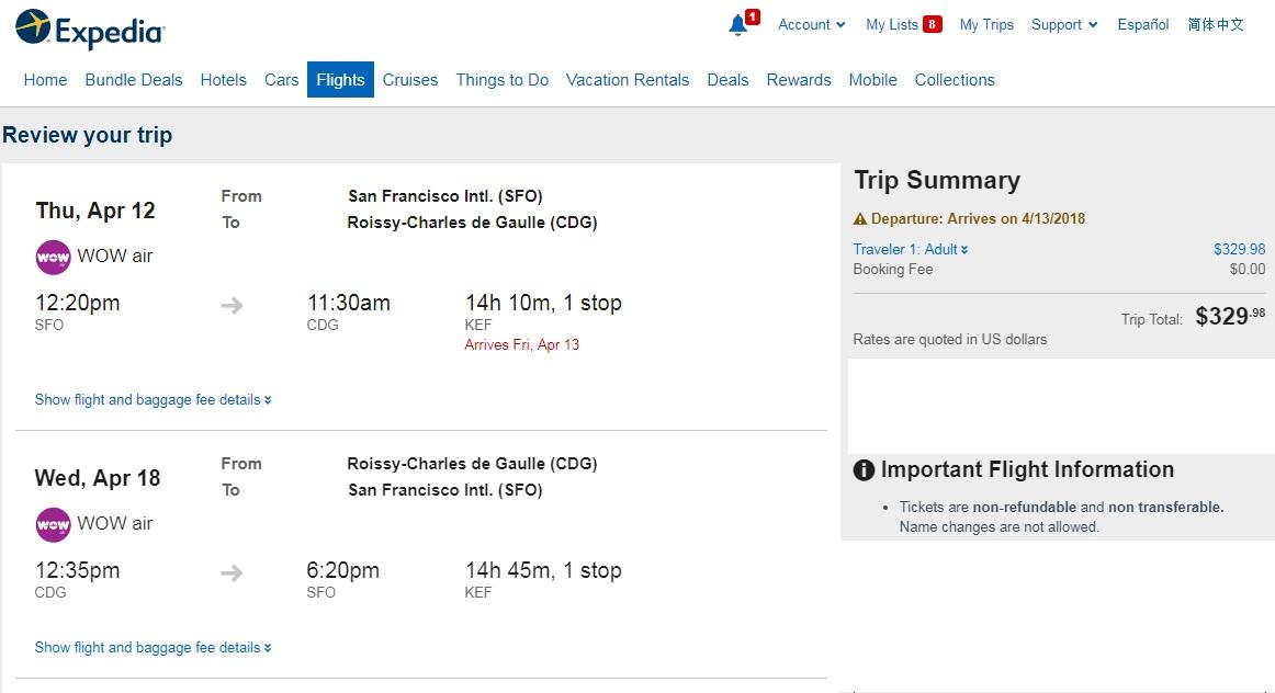 San Francisco to Paris France $330 RT Airfare on WOW Air (travel April-May 2018)