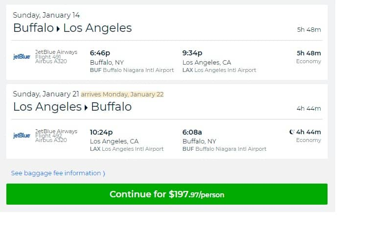 Buffalo NY to Los Angeles or Vice Versa $198 RT Nonstop on Jetblue (travel Jan-Feb 2018)