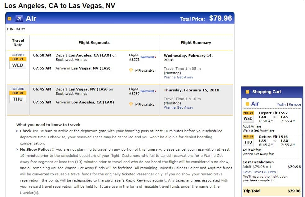 Los Angeles to Las Vegas or Vice Versa $78-$80 RT Nonstop on Alaska or Southwest Airlines (travel Jan-March)