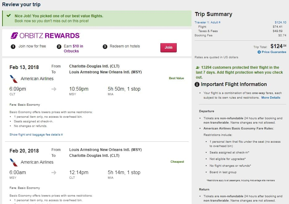 Charlotte to New Orleans or Vice Versa $125 RT on American Airlines (travel Jan-April)