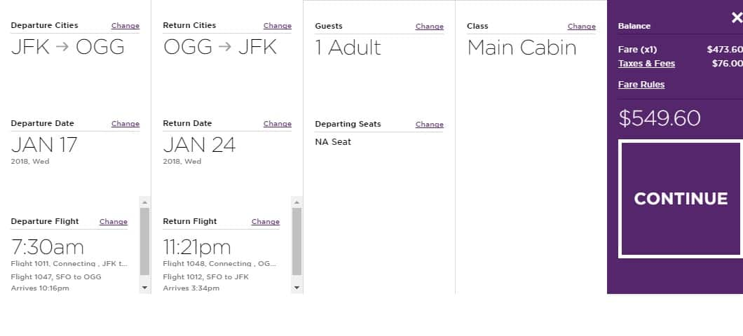 New York to Maui or Vice Versa $550 RT on Virgin America (travel Jan-Feb)