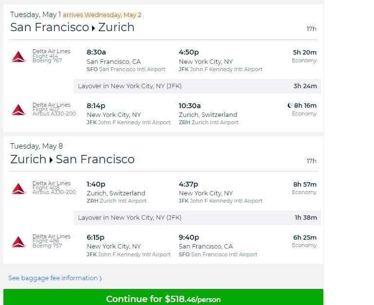 San Francisco to Zurich Switzerland $519 RT Airfare on Delta Airlines (travel April-May 2018) $518