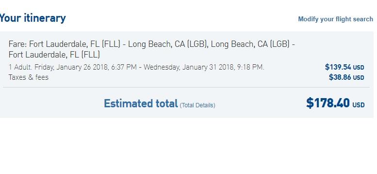 Ft Lauderdale to Long Beach CA or Vice Versa $178 RT Nonstop (travel Jan-Mar 2018)