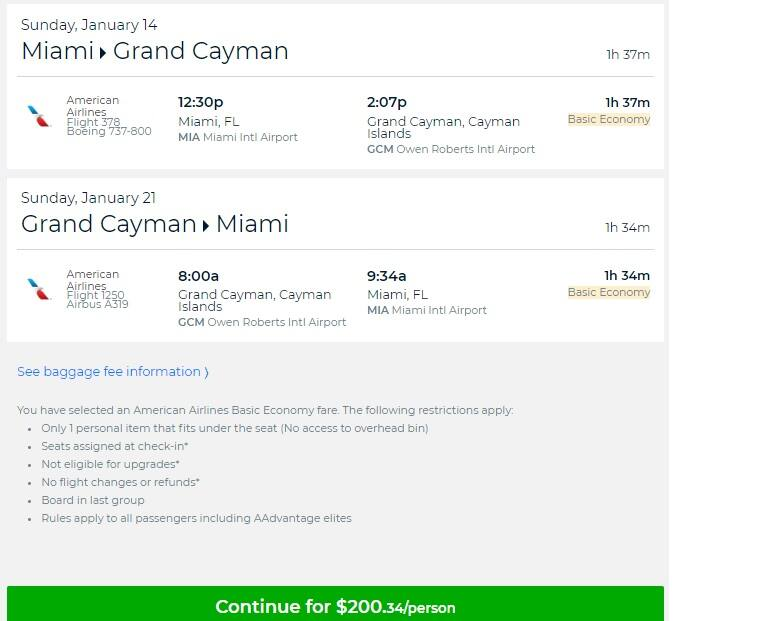 Miami to Grand Cayman $200 RT Nonstop on American Airines (BE) (limited travel Jan-Mar)