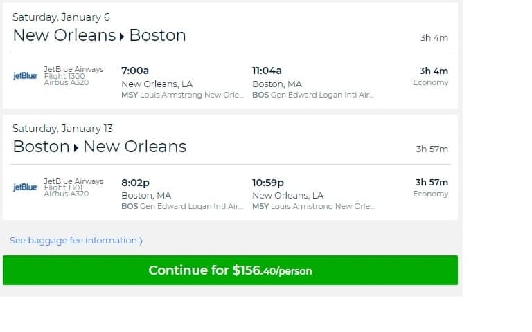 New Orleans to Boston or Vice Versa $156 RT Nonstop on Jetblue (travel Jan)