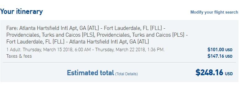 Atlanta to Provenciales Turks & Caicos $248 RT on Jetblue (travel March-April)