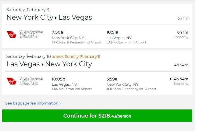 New York to Las Vegas or Vice Versa $218 RT Nonstop on Virgin America or Jetbue (travel Jan-Feb)
