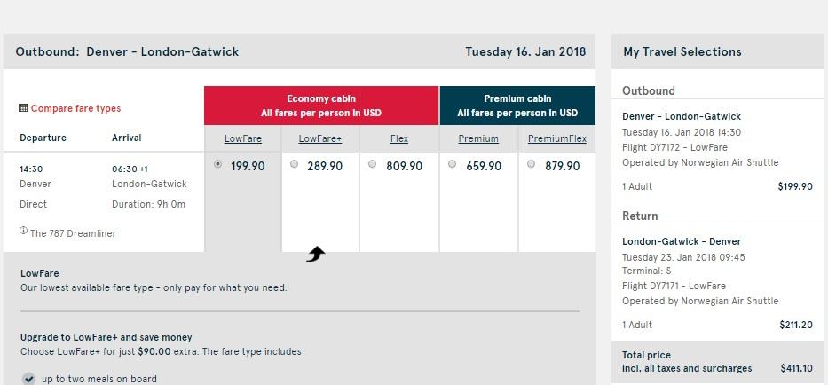 Denver to London $411 RT Nonstop on Norwegian Air (limited travel Jan-Feb)