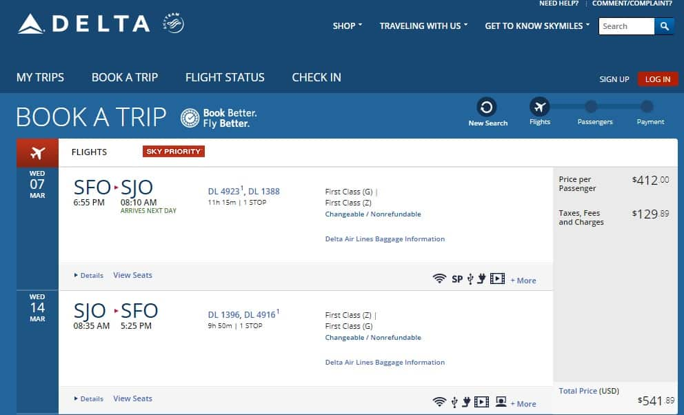San Francisco to Costa Rica $542 RT FIRST CLASS on Delta Airlines (travel March-June)